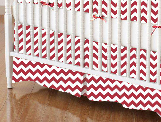 Mini Crib Skirt - Red Chevron Zigzag