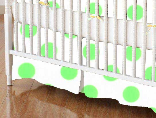 Crib Skirt - Neon Green Polka Dots