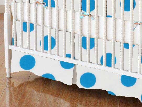 Crib Skirt - Turquoise Polka Dots