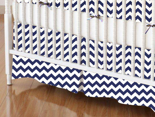 Mini Crib Skirt - Royal Blue Chevron Zigzag