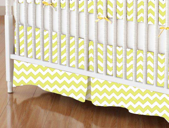 Crib Skirt - Yellow Chevron Zigzag
