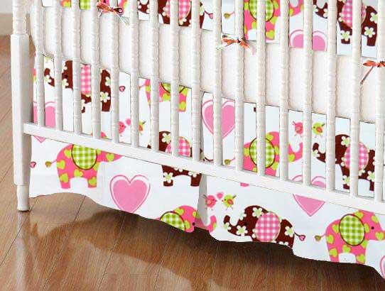 Crib Skirt - Elephant Love