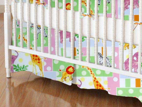 Crib Skirt - Jungle Animals & Dots