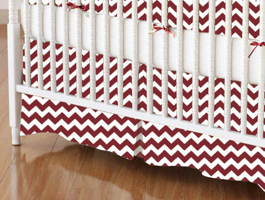 Crib Skirt - Burgundy Chevron Zigzag