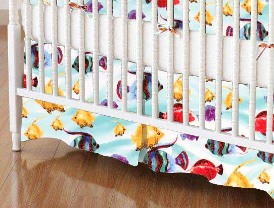 Crib Skirt - Exotic Fish Aqua