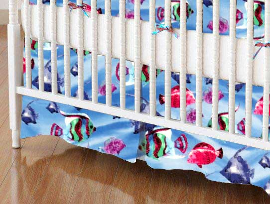 Crib Skirt - Exotic Fish Blue
