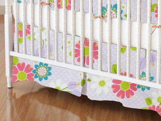 Crib Skirt - Lavender Daisy Dot