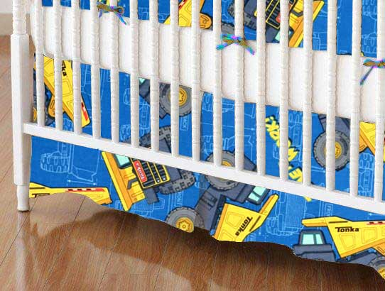 Crib Skirt - Constructions Trucks Blue