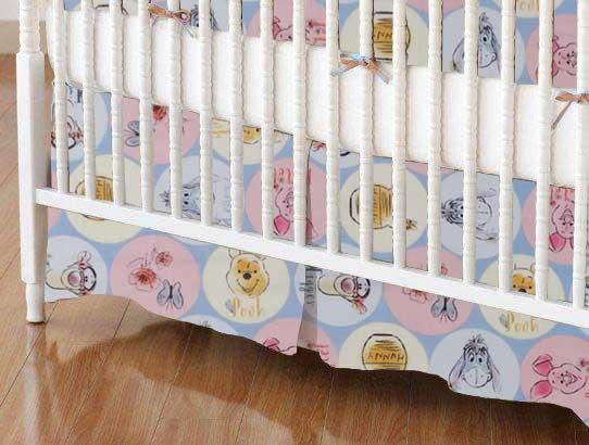 Crib Skirt - Pooh & Friends Circles