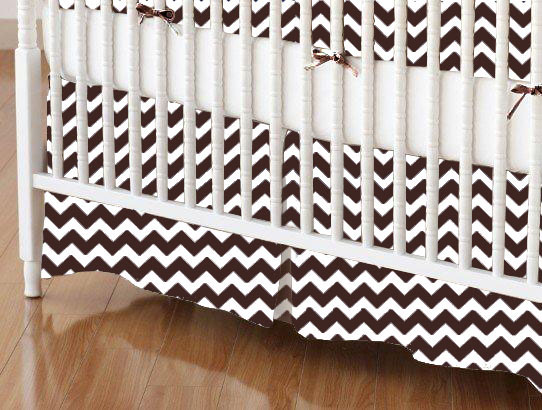 Crib Skirt - Brown Chevron Zigzag