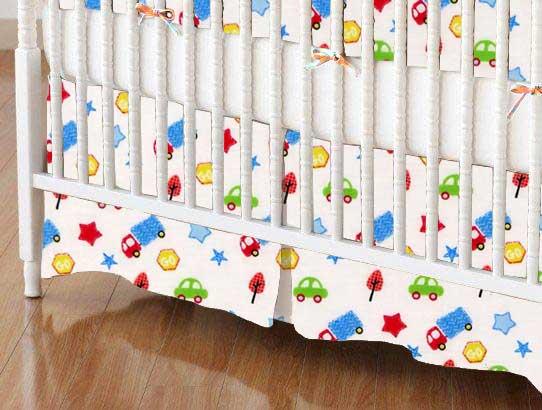 Crib Skirt - Baby Cars & Trucks