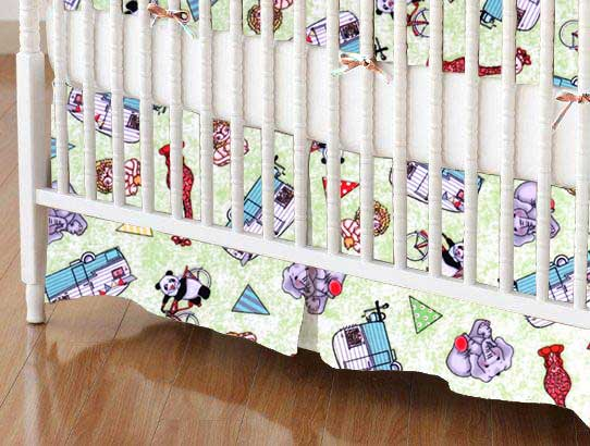 Crib Skirt - Safari Animals Green