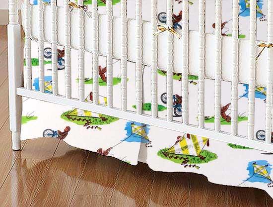 Crib Skirt - Curious George Kite