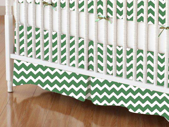 Crib Skirt - Forest Green Chevron Zigzag