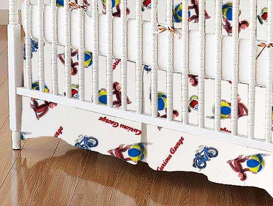 Crib Skirt - Curious George Beach Balls