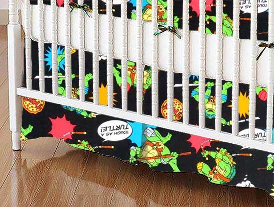 Crib Skirt - Ninja Turtles Black