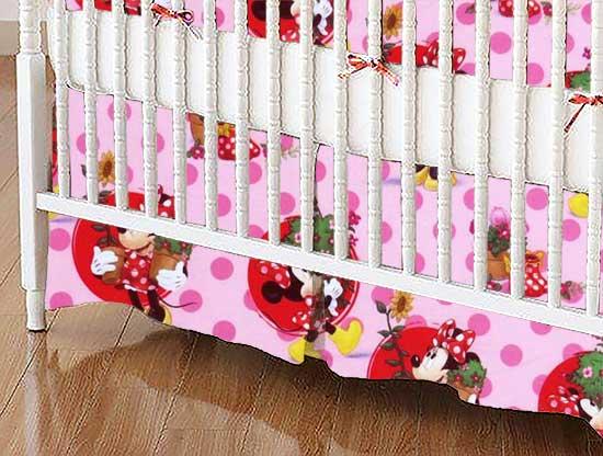 Crib Skirt - Minnie Mouse Pink