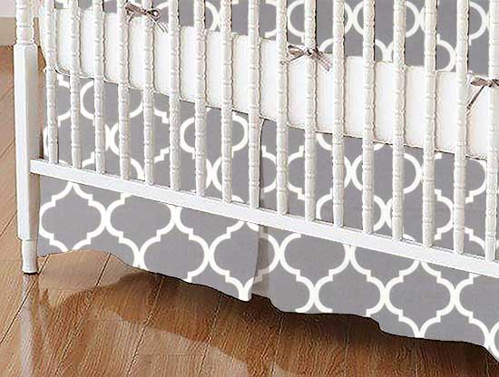 Crib Skirt - Grey Large Quatrefoil