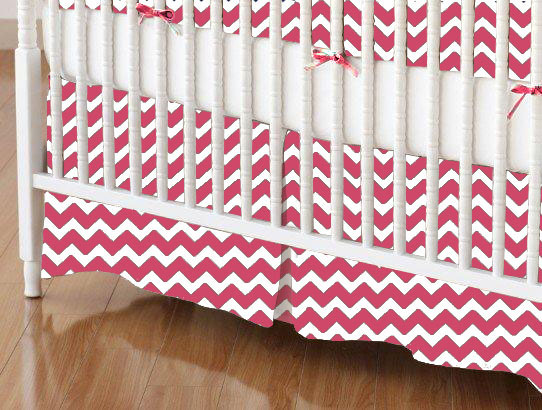 Crib Skirt - Hot Pink Chevron Zigzag