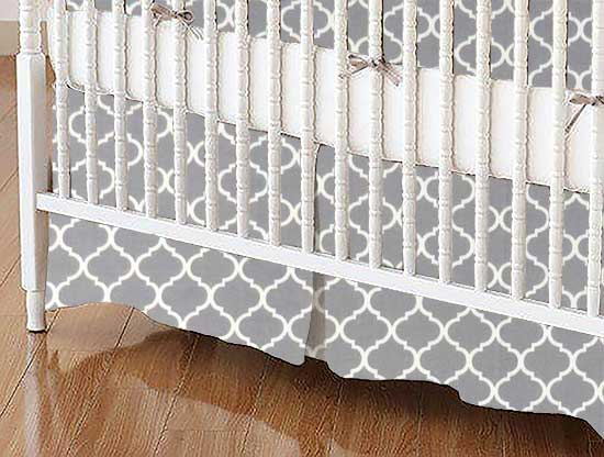 Crib Skirt - Grey Quatrefoil