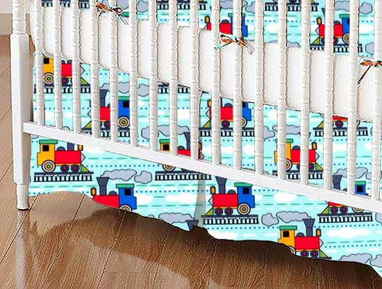 Crib Skirt - Kiddie Trains