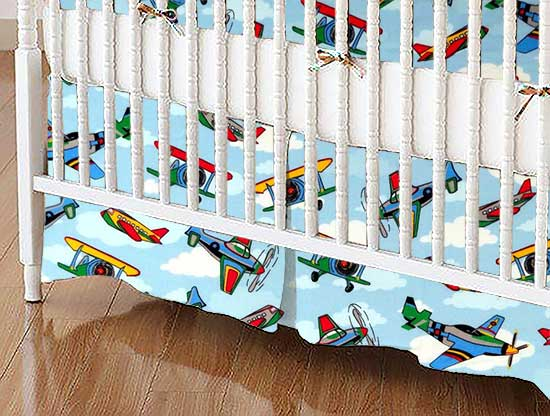 Crib Skirt - Kiddie Airplanes