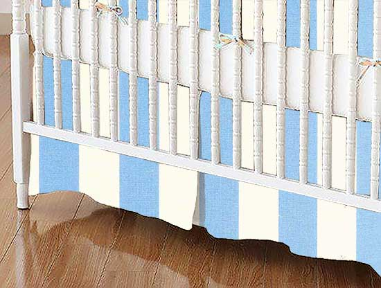 Crib Skirt - Blue Stripe