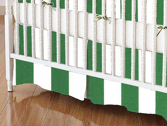 Crib Skirt - Forest Green Stripe