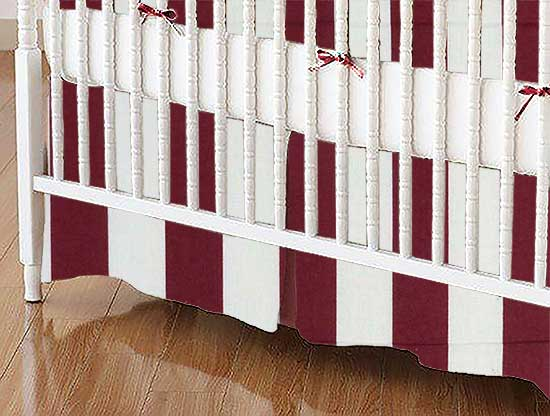 Crib Skirt - Burgundy Stripe