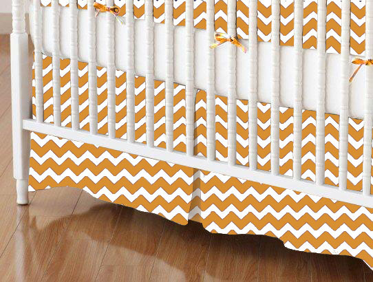 Crib Skirt - Gold Chevron Zigzag