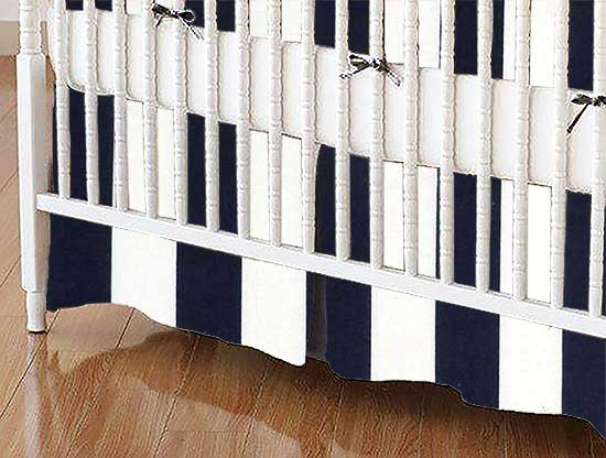 Crib Skirt - Navy Stripe