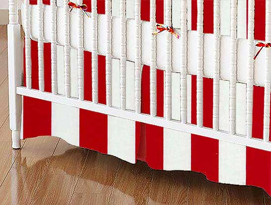 Crib Skirt - Red Stripe