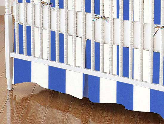 Crib Skirt - Royal Blue Stripe