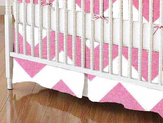 Crib Skirt - Sparkly Pink Chevron