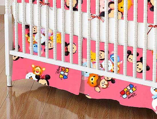 Crib Skirt - Tsum Tsum Pink