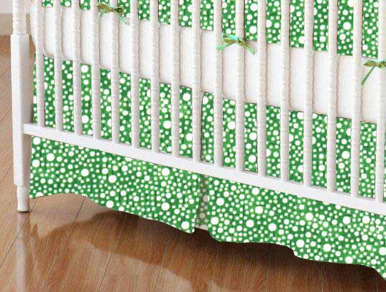 Crib Skirt - Confetti Dots Green