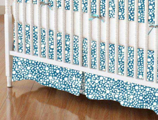 Crib Skirt - Confetti Dots Blue