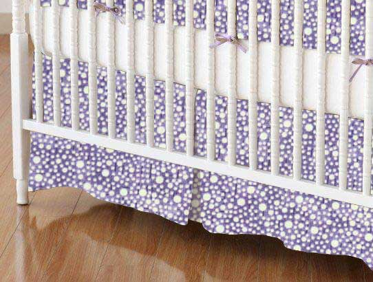 Crib Skirt - Confetti Dots Purple