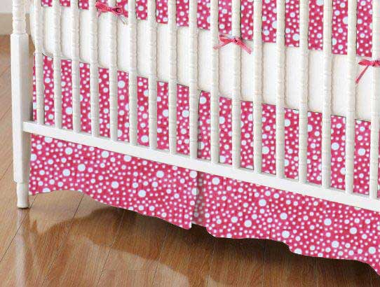 Crib Skirt - Confetti Dots Hot Pink