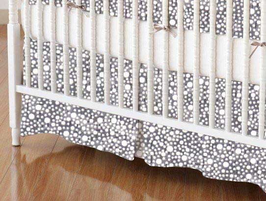 Crib Skirt - Confetti Dots Grey