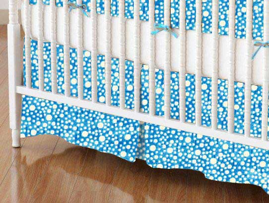 Crib Skirt - Confetti Dots Royal Blue