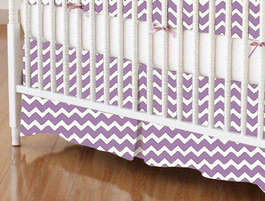Crib Skirt - Lilac Chevron Zigzag