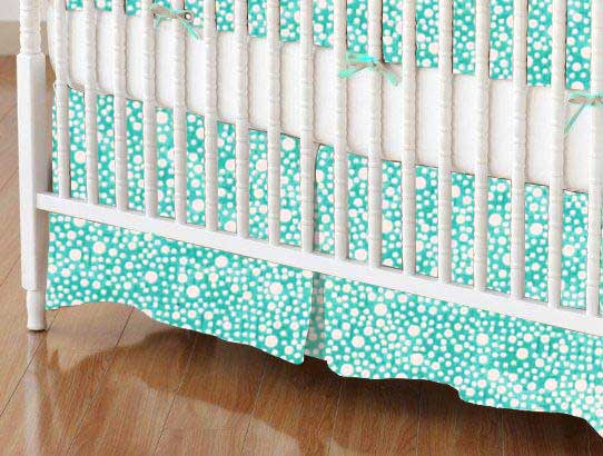 Crib Skirt - Confetti Dots Aqua