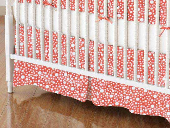 Crib Skirt - Confetti Dots Coral