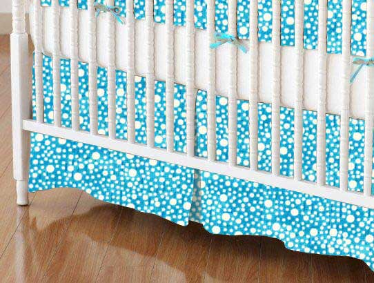 Crib Skirt - Confetti Dots Turquoise