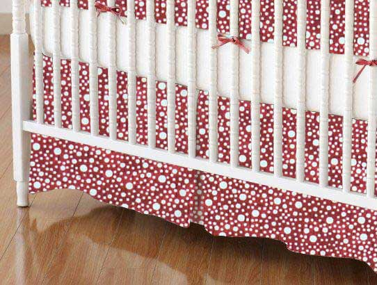 Crib Skirt - Confetti Dots Burgundy