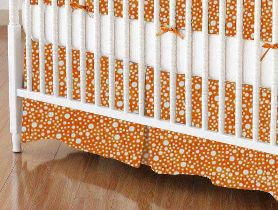 Crib Skirt - Confetti Dots Orange