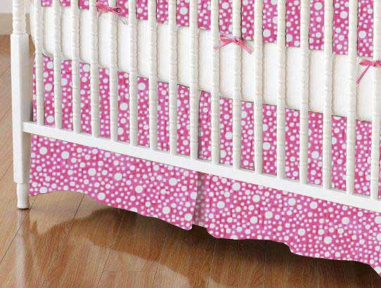 Crib Skirt - Confetti Dots Pink