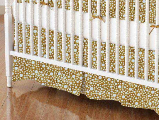 Crib Skirt - Confetti Dots Camel