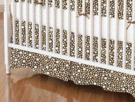 Crib Skirt - Confetti Dots Brown
